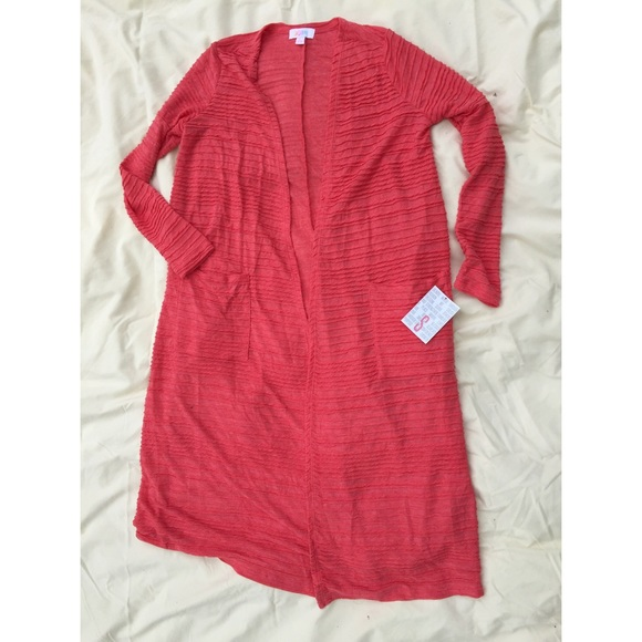 LuLaRoe Jackets & Blazers - LuLaRoe Sarah Coral Sweater Ribbed Duster Small